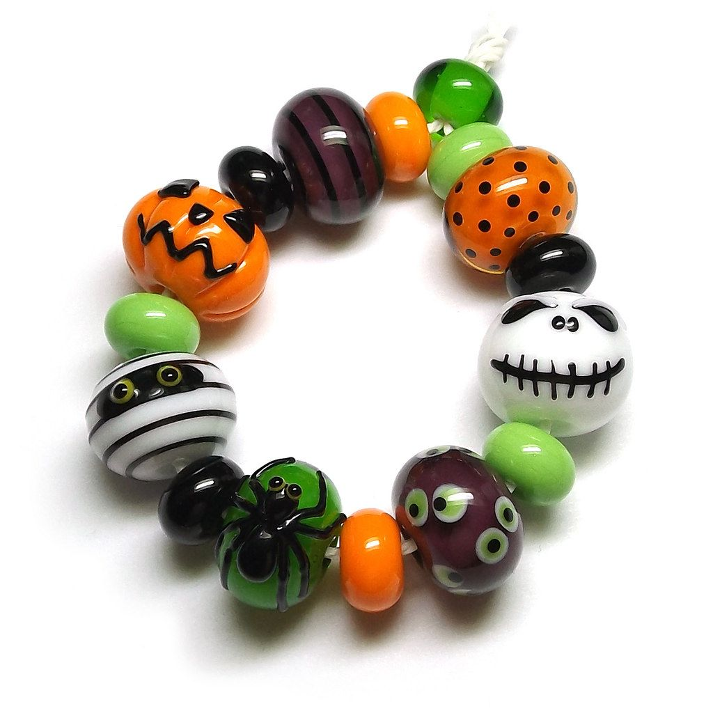 Beads By Laura: Lampwork glass 'Halloween' beads by Laura Sparling