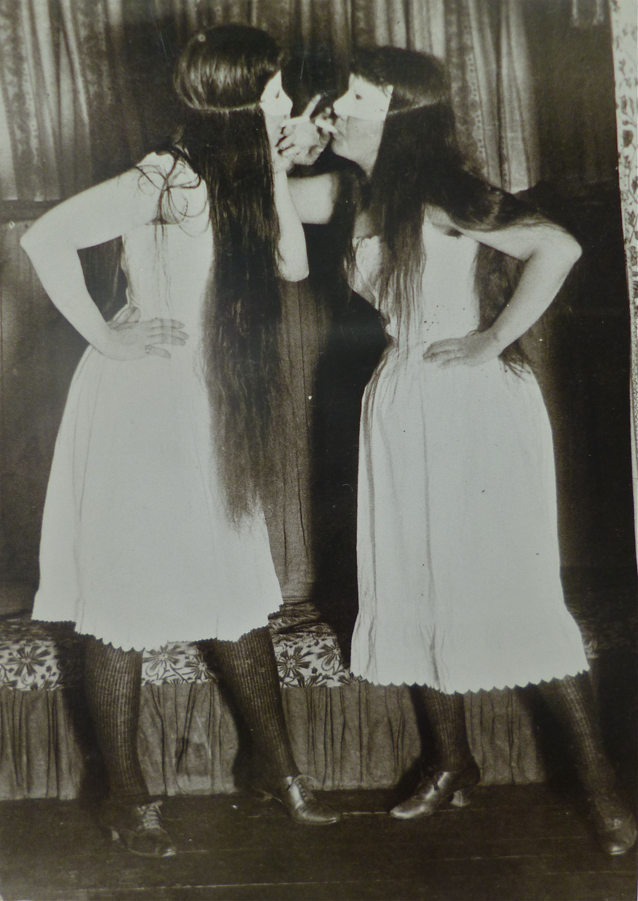 """""""Trude and I masked in short skirts """"1891 Photo Alice"""