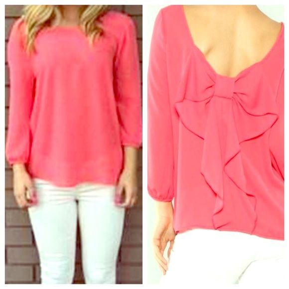Chiffon Bow-ing Out Blouse NWOT size medium coral 3/4 sleeve top. Super cute and flowy with subtle bow back detail. Tops