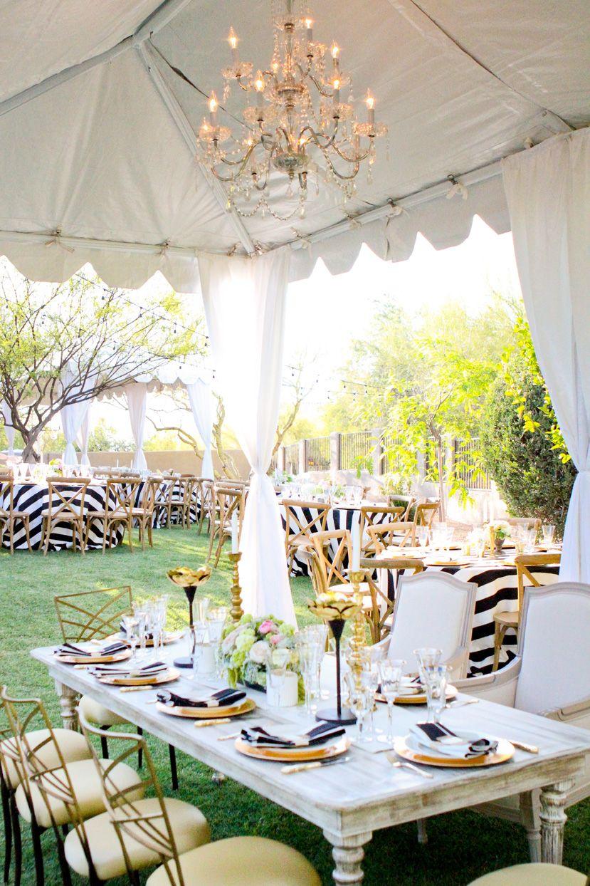 black tie backyard reception black tie and head tables