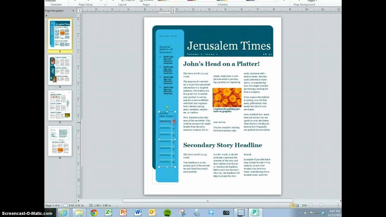 Ms Word Newsletter Template Elegant Microsoft Publisher