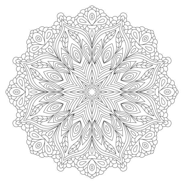Mandala coloring book page design. Flower circular anti stress black…