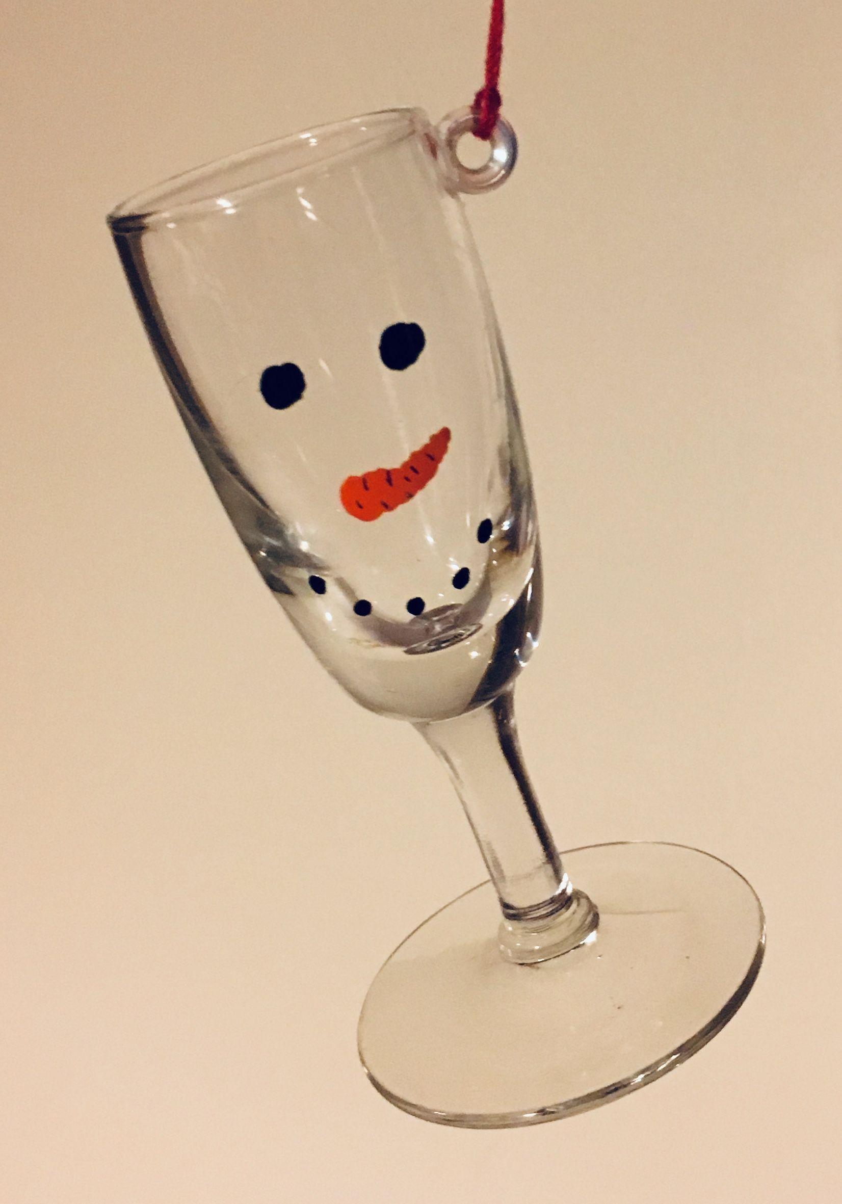 Mini Holiday Wine Glass Christmas Ornament, Snowman ⛄️