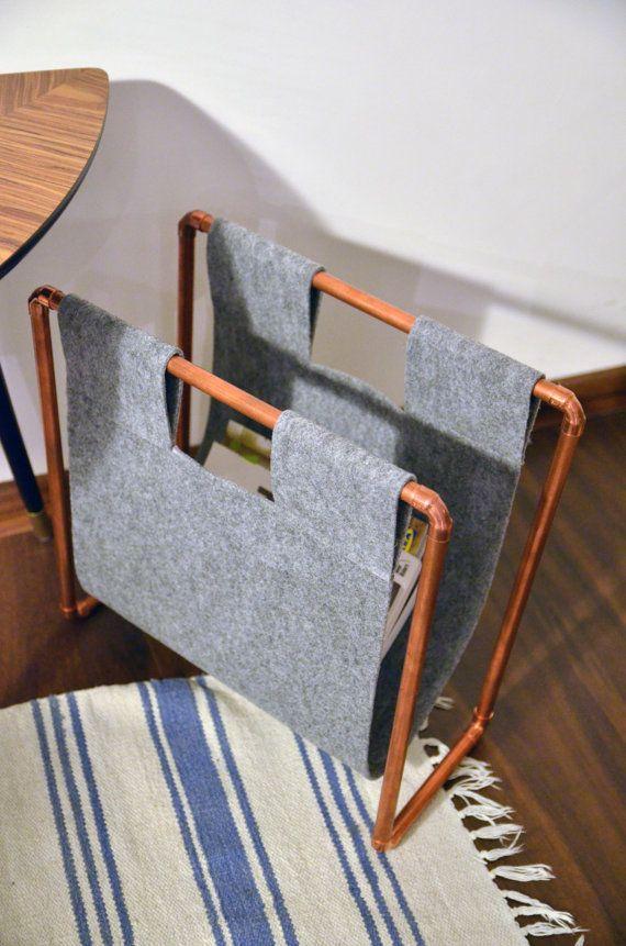 Copper Magazine Rack, Newspaper Storage Industrial Pipe