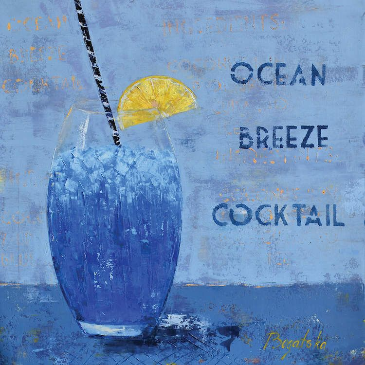 Ocean Breeze Cocktail Canvas Art Print By Olena Bogatska