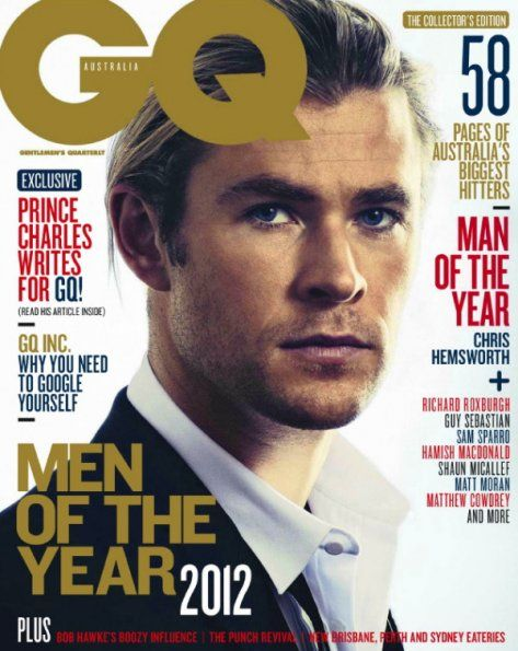 This shot of Chris Hemsworth on the cover of GQ Australia reminds me of Brad Pitt when he did Legends Of The Fall...