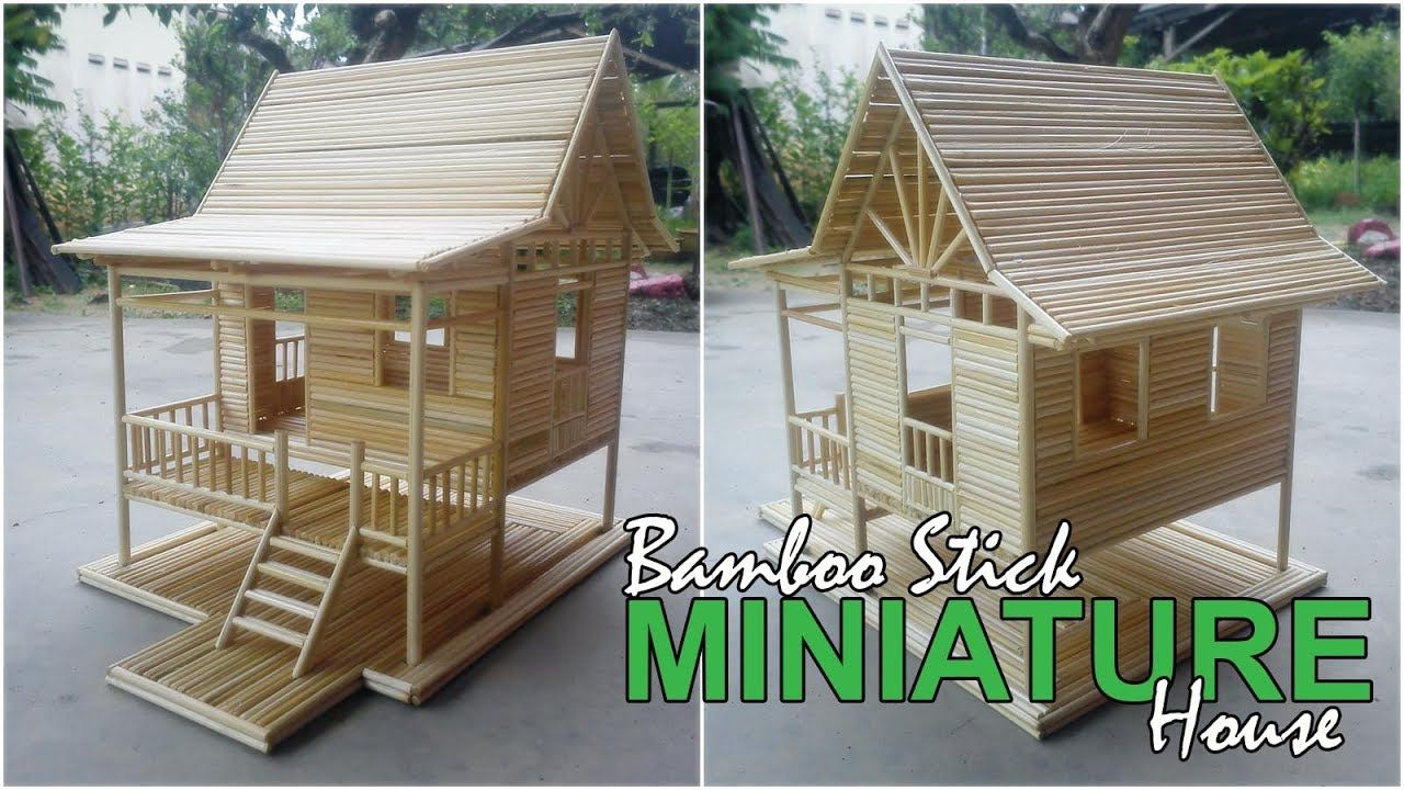 Bamboo Stick Miniature House Simple Village House Custom Made