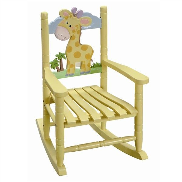 kids children s toddler yellow safari wood rocking chair giraffe