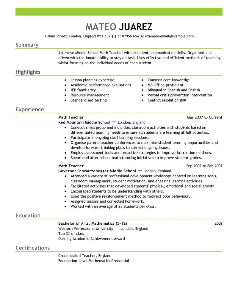 Teacher Resume Builder Template  Big Teacher Example  Emphasis