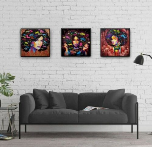 African Girl Canvas Print Art American Black Girl Wall Photos 12x12 Inch Decor In 2020 Canvas Prints Decor African Girl