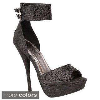 Top Moda Women's 'Special-10' Glittering Ankle-strap Platform Pumps Information