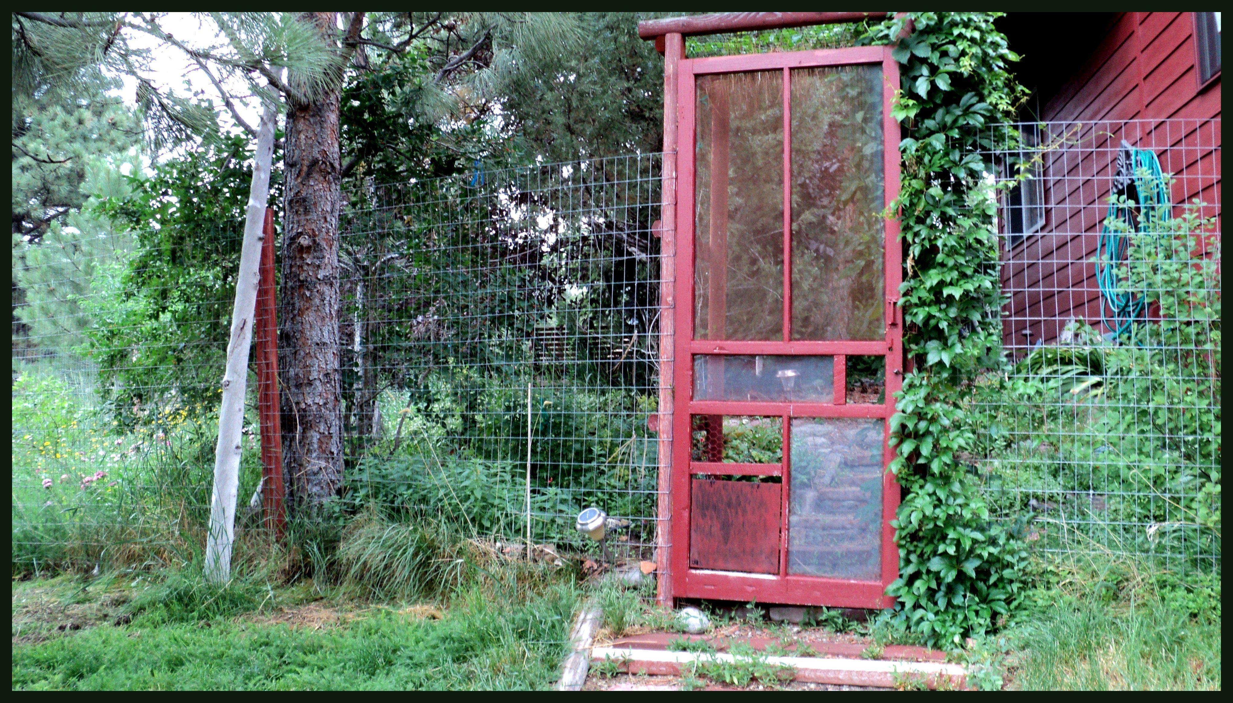 garden door with dog door in corner Garden doors, Dog