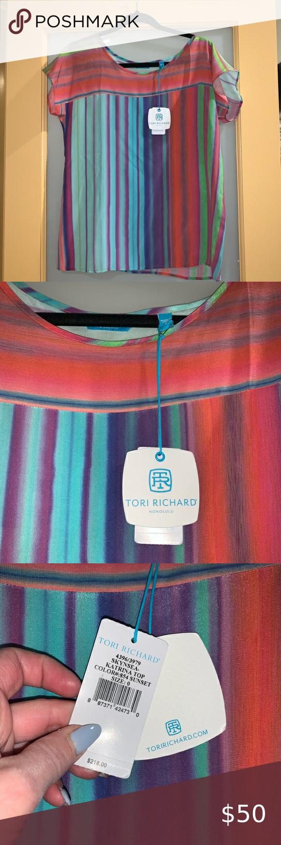 Tori Richard Skynsea Katrina Silk Stripe Top 0 Tori Richard Honolulu Skynsea Katrina 100 Silk Striped Shirt Size 0 In 2020 Stripe Tunic Top Tori Richard Stripe Tunic