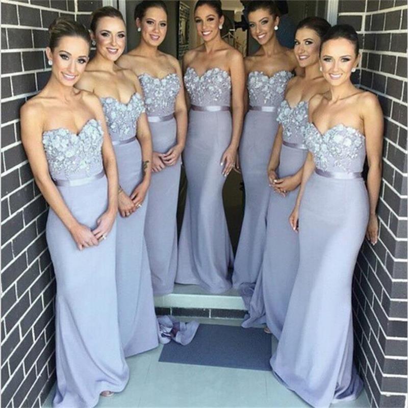 Light Grey Sweetheart Chiffon Dress Purple Bridesmaid