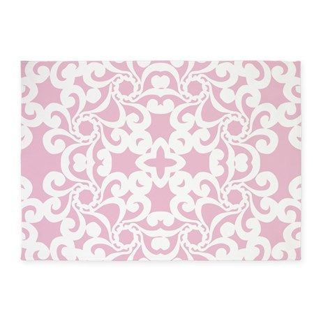 Exceptional Baby Pink U0026 White Lace Tile 5x7u0027Area Rug On CafePress.com