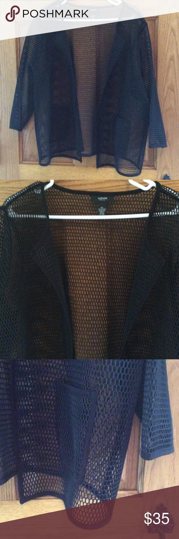 Alfani mesh style jacket Black mesh. 3/4 sleeves.  Front pockets.  Never worn Alfani Jackets & Coats Blazers