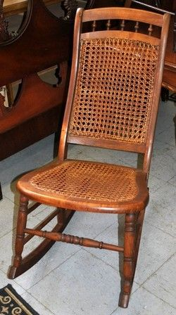 Charmant Antique Cane Seat Rocker Rocking Chair