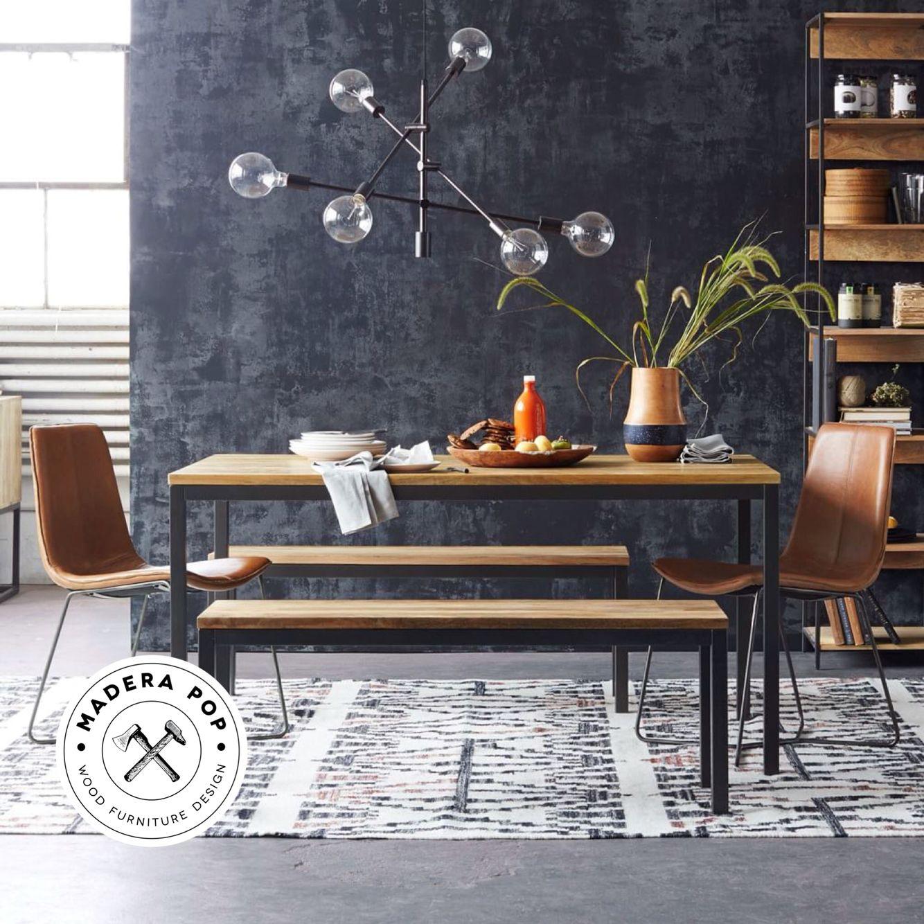Mesa para 6 personas y banca para 2 personas (madera sólida) Medidas ...
