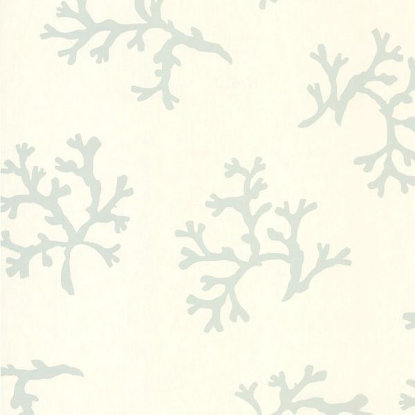 Coral Pieces Wallpaper Silver on Off White