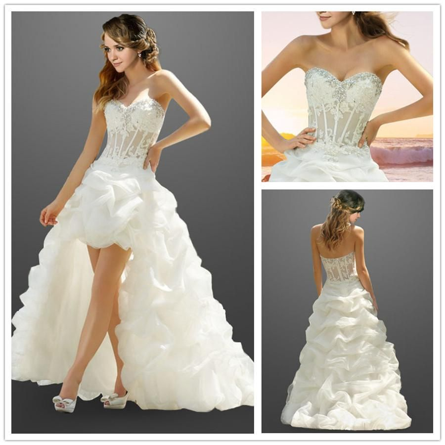 Custom made wedding dress  Affordable Aline Organza Appliques Pick Up Skirt Wedding Dress