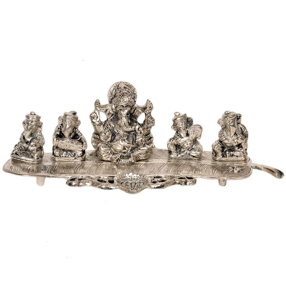 shop little india ganesha on banana leaf white metal pooja idol shop little india ganesha on banana leaf white metal pooja idol dli3hcf336 online at
