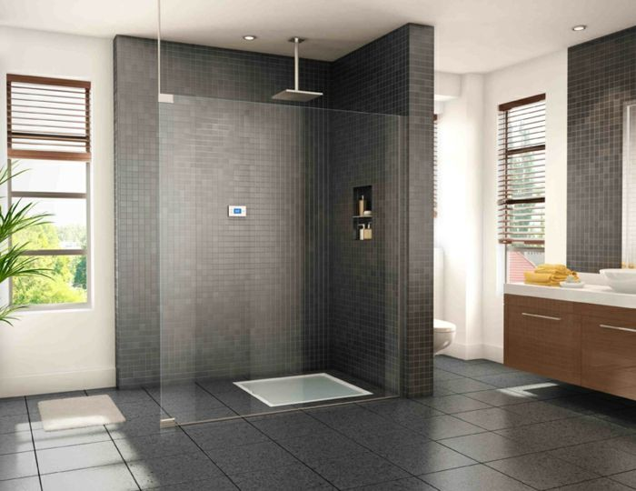 douche à l\u0027italienne salle de bains gris anthracite Salle de bains