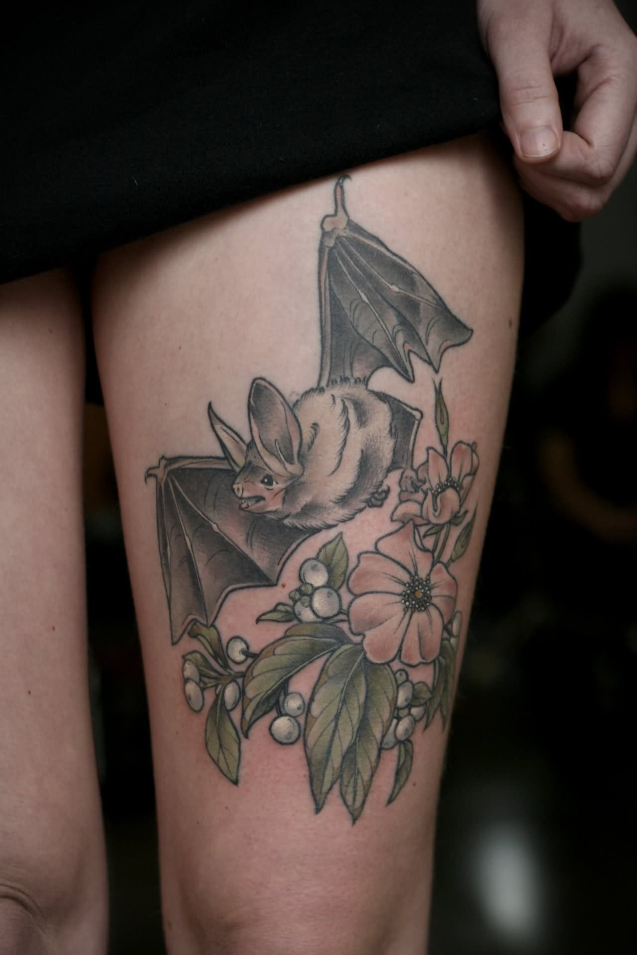466d6c6bccd98 Floral With Bat Tattoo Design For Thigh | tattoo | Floral arm tattoo ...