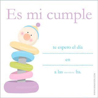Tarjeta De Cumpleaños De 1 Año Para Imprimir Invitaciones