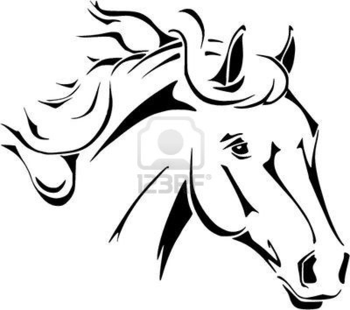 Horse+Head+Coloring+Pages+To+Print | Horse Head Vector In Tribal ...