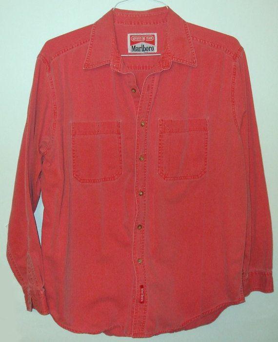 Vintage 1980's Marlboro Adventure Team Men's Long Sleeve Red Denim ...