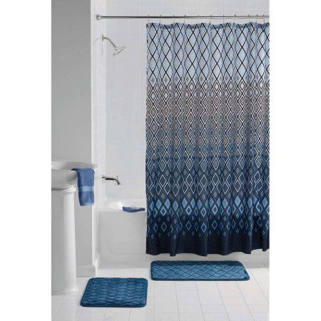 Mainstays Multi Color Geometric Stockholm Memory Foam Bath Set, Shower  Curtain And Bath Rugs Included, Multicolor