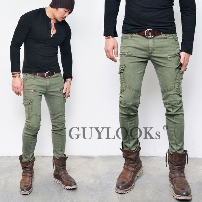 5d28297f7f53b4 Pre Washed Mens Slim Skinny Fit Zippered Cotton Khaki Biker Cargo Pants  Guylook | Clothing,