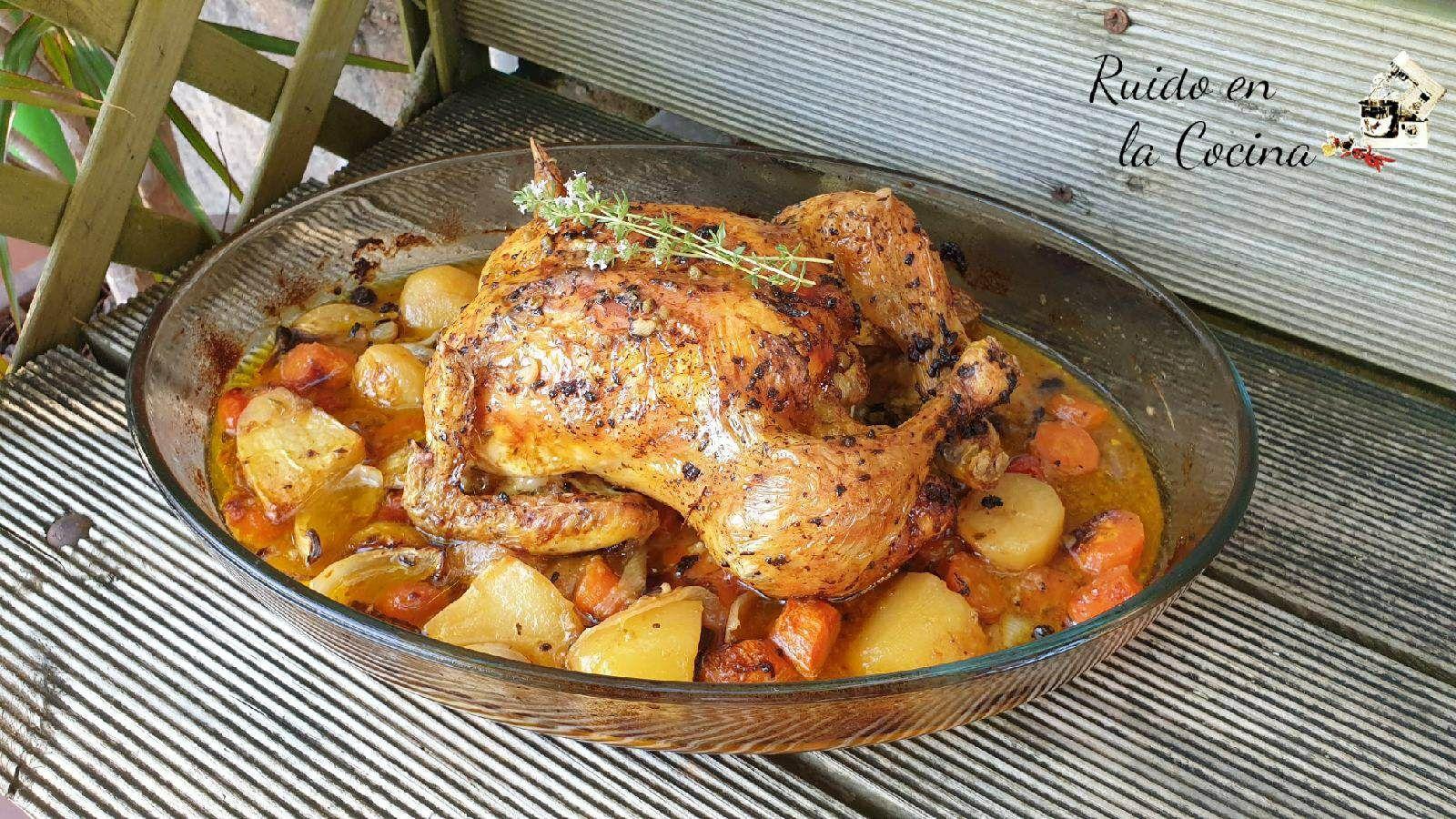 Pollo Asado Al Horno Con Guarnición Ruido En La Cocina Receta Pollo Asado Horno Asado Guarniciones