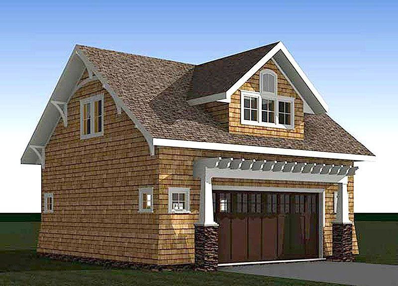 Architectural designs craftsman carriage house plan 18294be has room for 2 cars on the main level and a vaulted living area above complete with kitchen