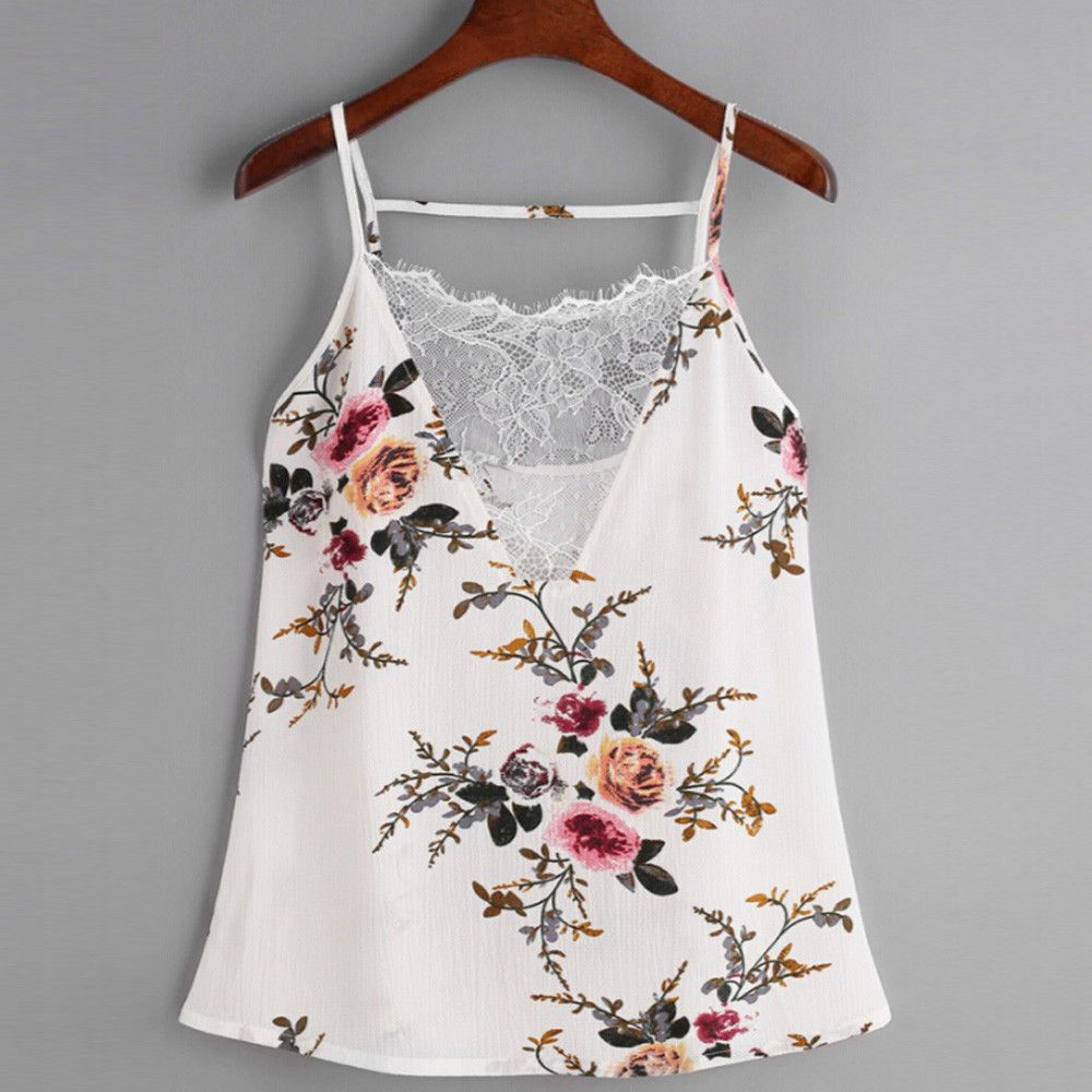 50d9203b9875  3.97 - Women Lace Vest Chiffon Tops Casual Tank Tops Blouse Summer  Sleeveless T-Shirt  ebay  Fashion