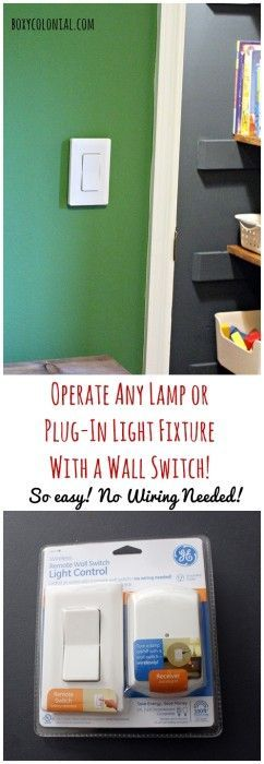 Control Any Plug In Light With A Wall Switch A Quick Ikea Light Tweak Plug In Wall Lamp Closet Lighting Light Fixtures