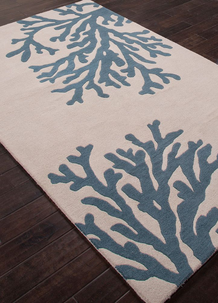 Coastal Seaside Bough Silver Birch Indian Teal Hand Tufted Rug Beach Decor