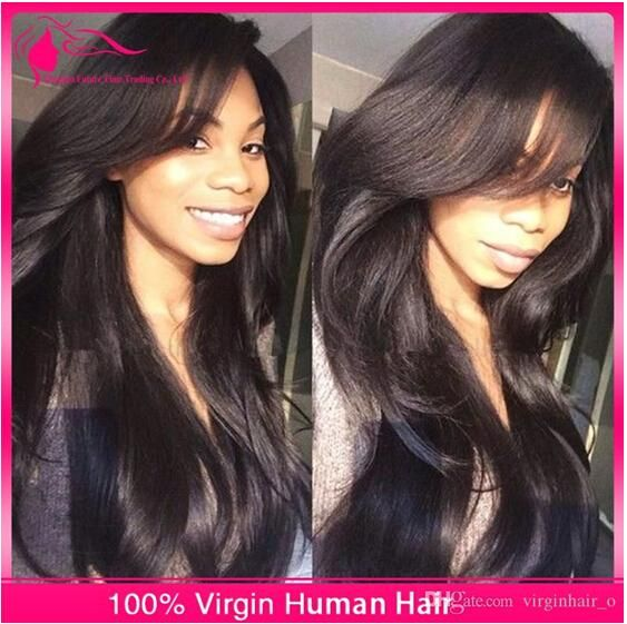 16% Unprocessed Brazilian Straight Virgin Hair Glueless Full Lace ...