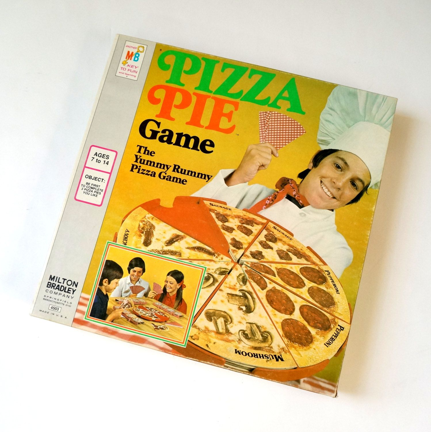 MIlton Bradley Pizza Pie Game 1974 / The Yummy Rummy Vintage Childrens Game  by AttysSproutVintage on