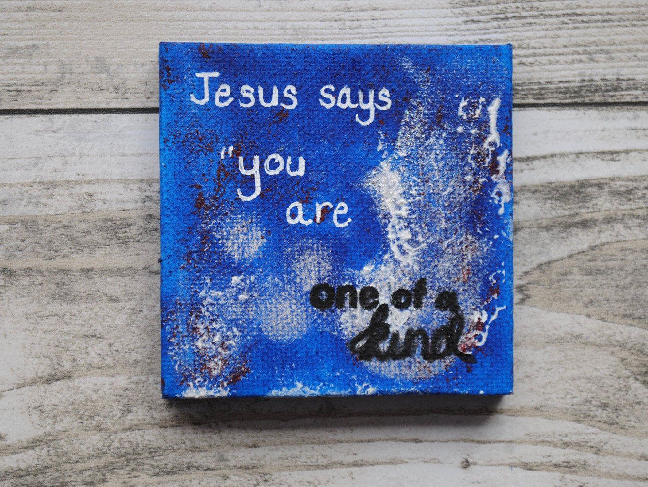 Christian Painting Mixed Media Art Mini Gift Religious Wall Spiritual Birthday Mothers Day Women Bible Verse FREE UK SHIPPING By
