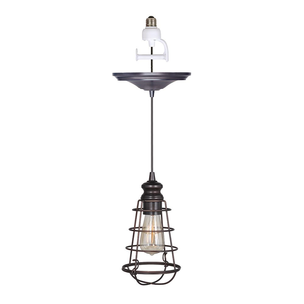 Shop online for Instant Pendant Recessed Light Conversion Kit Brushed Bronze Wire Cage Shade #PendantLight