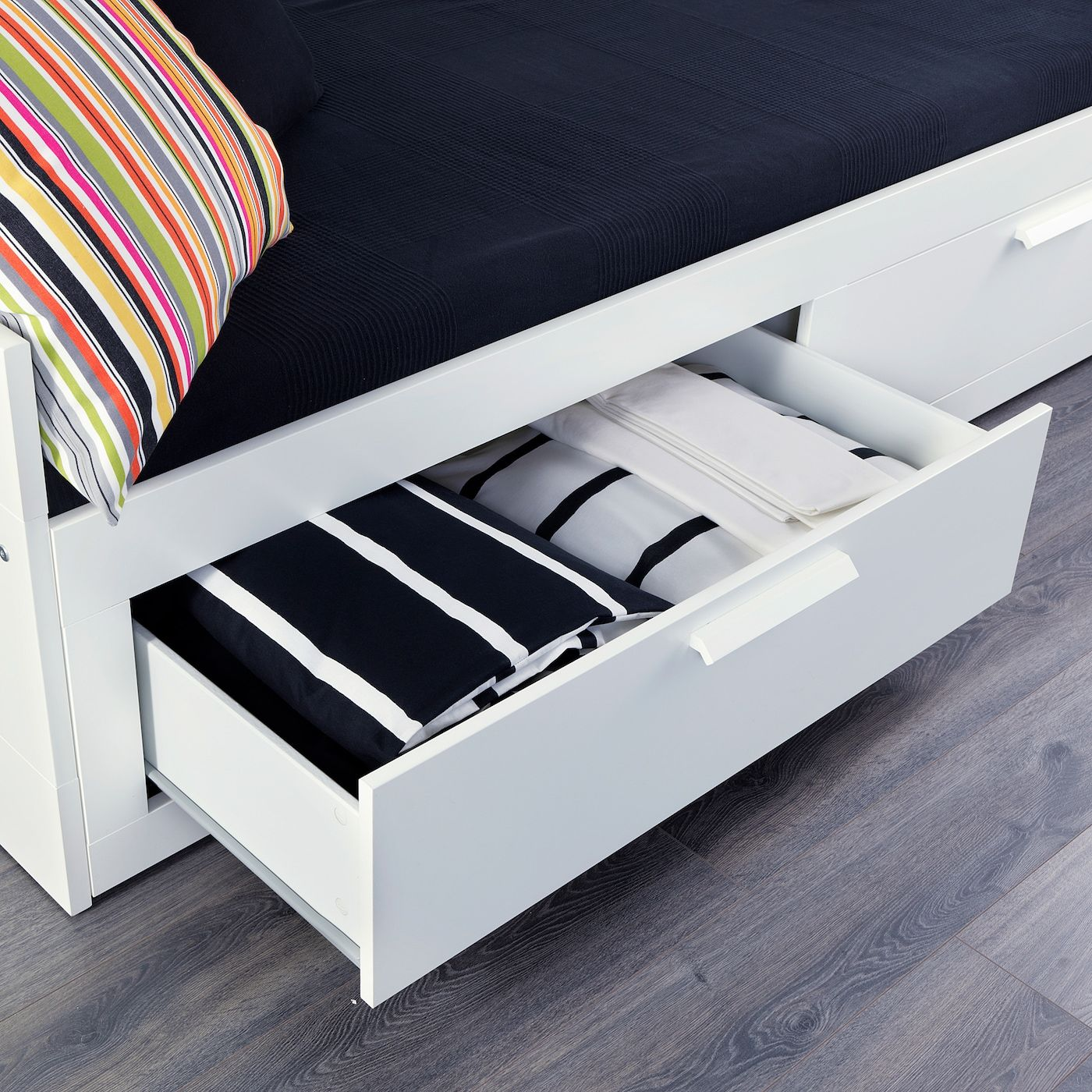 Brimnes Daybed With 2 Drawers 2 Mattresses White Minnesund Firm Twin Ikea In 2020 Day Bed Frame Bed Frame Ikea Bed