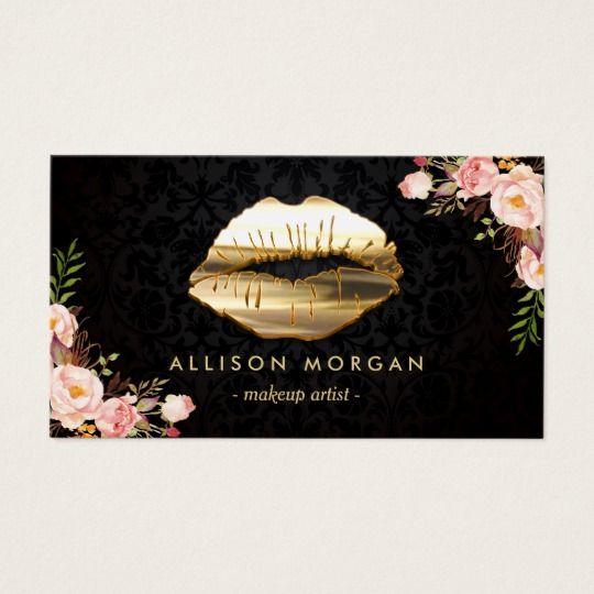 New Version Gold Lips Makeup Artist Floral Business Card