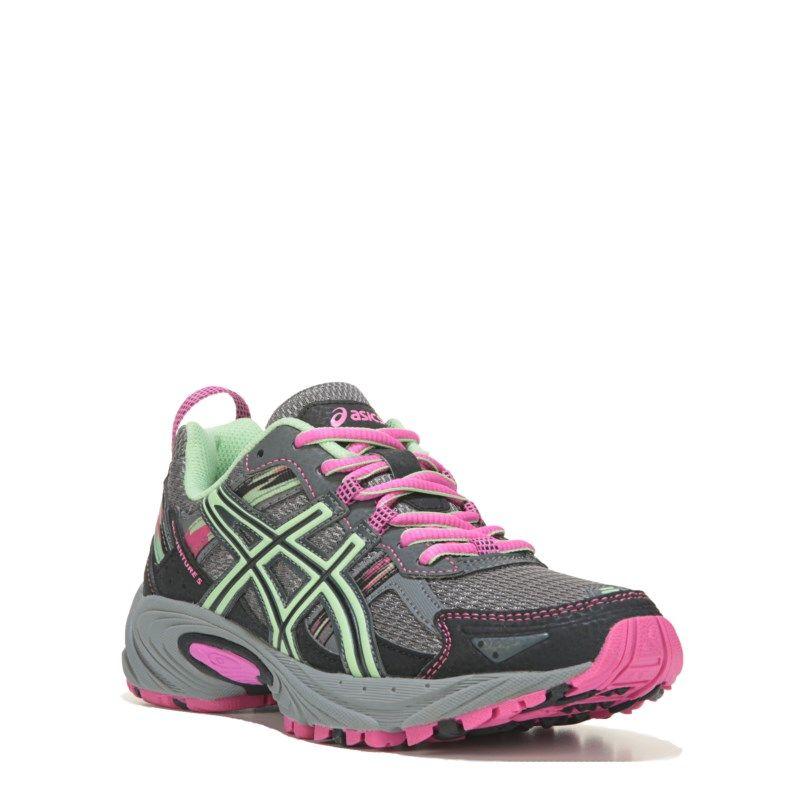 Womens ASICS GEL-Venture 5 Wide Trail Running Shoe Black/Pistachio/Pink