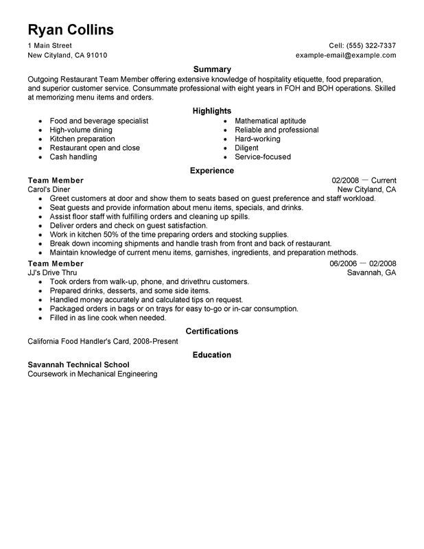 Restaurant Team Member Resume Example | My Perfect Resume\'s ...