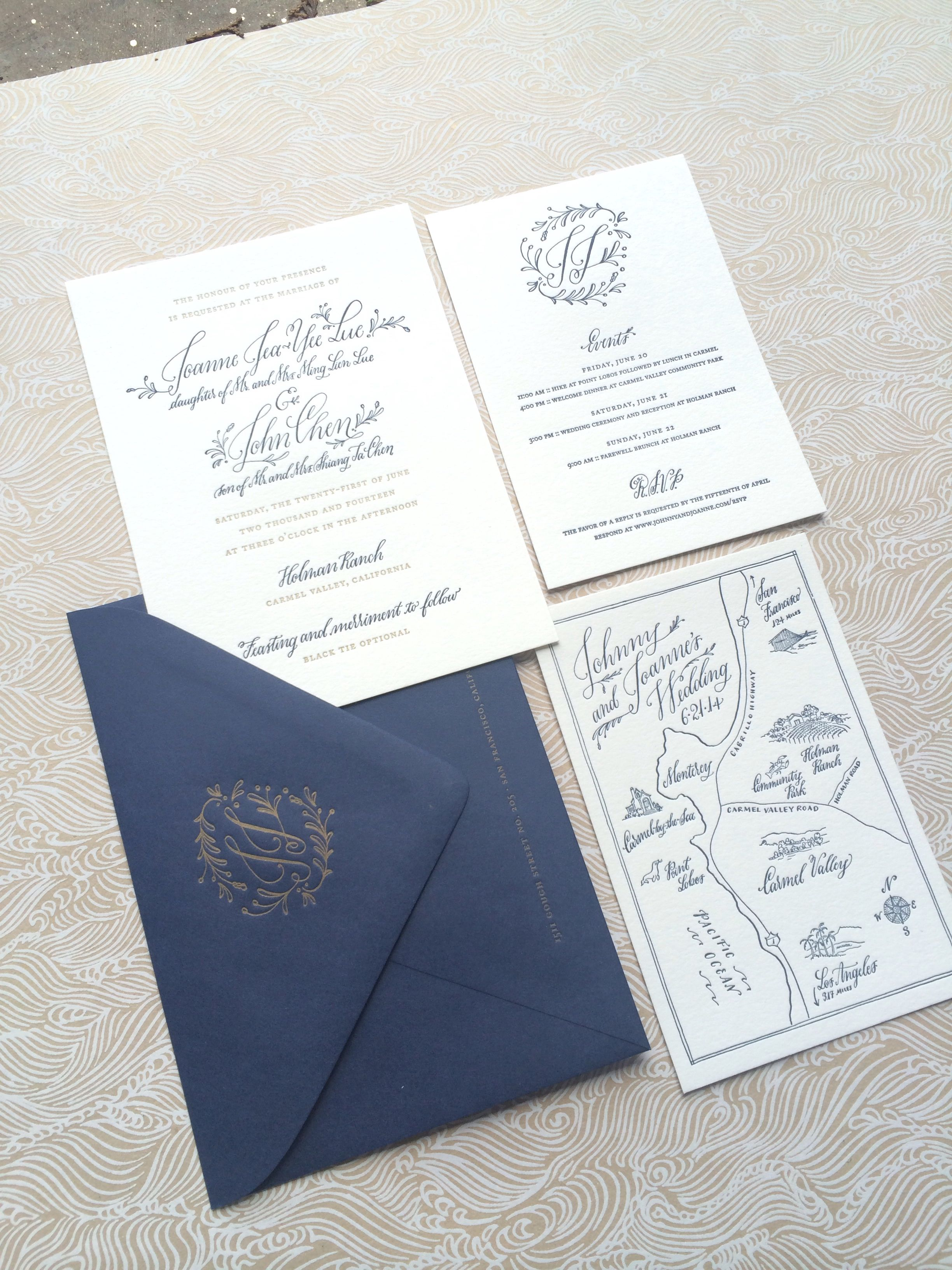 Carmel suite designed by Holly Hollon Letterpress by four hats