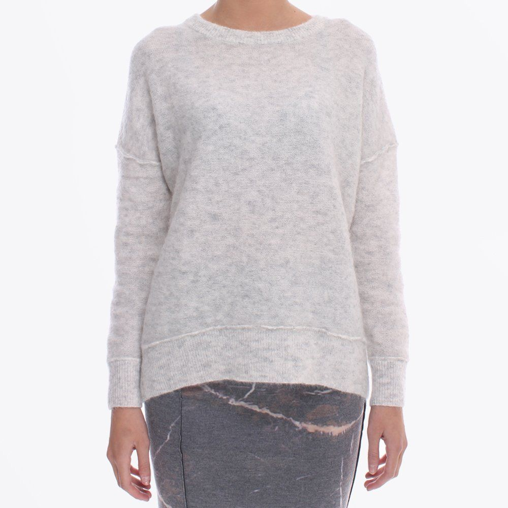 By Malene Birger | Rosalinda Fluffy Knit - Light Grey Melange ...