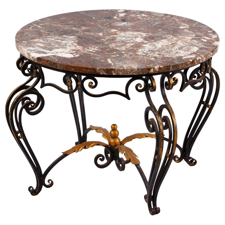 French Art Deco Iron Marble Coffee Table Attributed To Robert Merceris 1940s Marble Coffee Table Wrought Iron Table Coffee Table