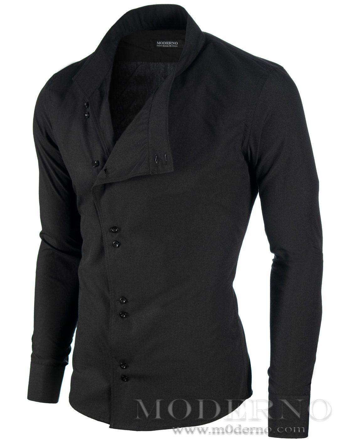 Mens slim fit asymmetric long sleeve casual shirt black modls