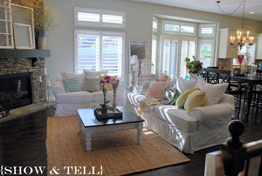 arrange living room furniture open floor plan decorating ideas blue carpet corner fireplace dining kitchen layout